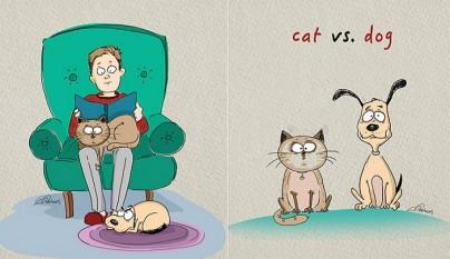 diferencias perros gatos ilustraciones